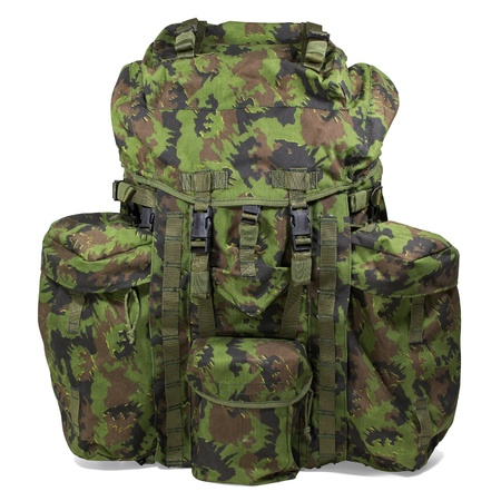 mobilization: Military backpack isolated on white
