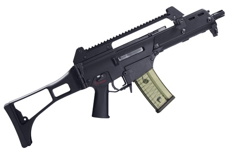 airsoft: Semi automatic assault rifle isolated on white background Stock Photo