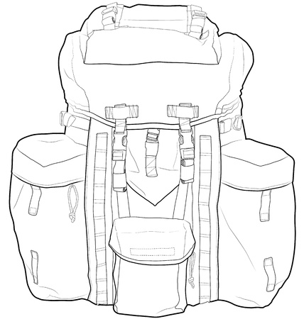 Military or hiking backpack outline  Illustration
