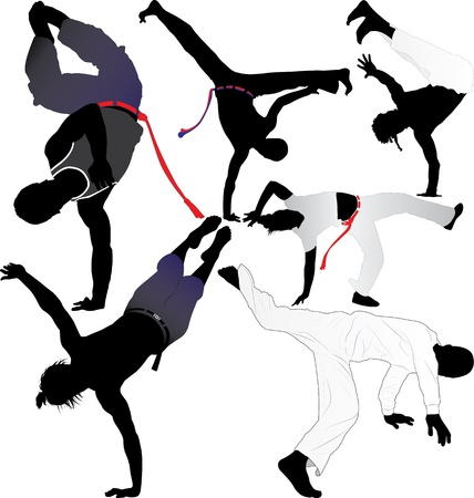 Capoeira fighter or breakdancer silhouettes Vector