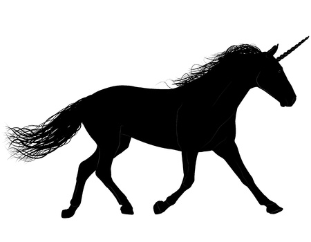 Unicorn or horse silhouette. Layered. Horn and body relief outline are on different layers Vector