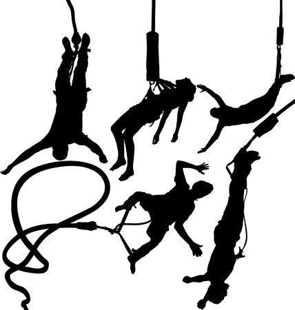 bungee jumping: Bungee puente silueta vector conjunto Vectores