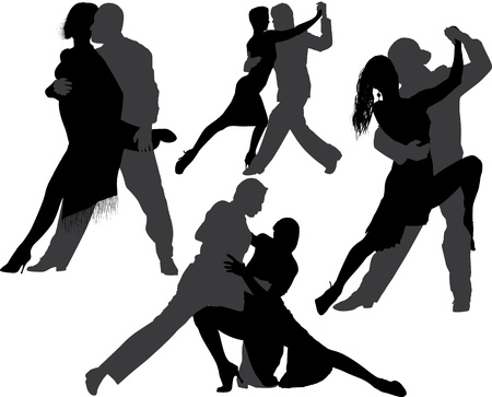 Couple dancing tango  silhouette set