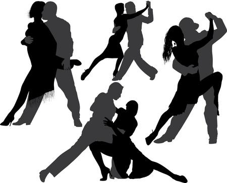 siluetas de enamorados: Pareja bailando tango silueta conjunto
