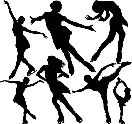 patinaje: Patinaje art�stico siluetas vector fijado en fondo blanco