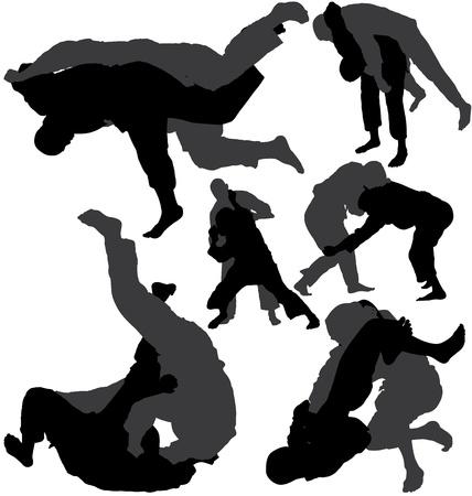 Jiu-jitsu (jujitsu) and judo wrestlers vector silhouettes Vector