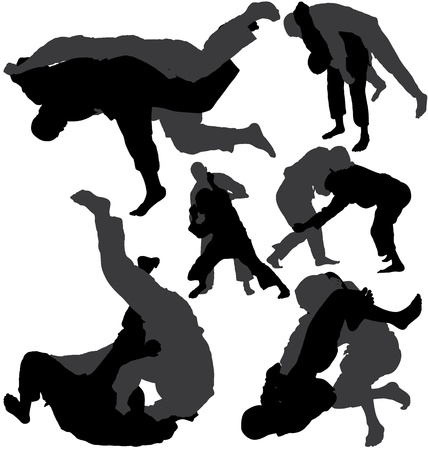 grappling: Jiu-jitsu (jujitsu) and judo wrestlers vector silhouettes