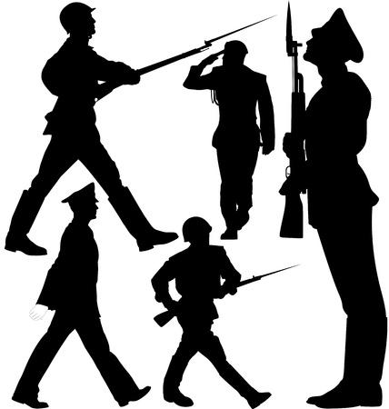 silhouette soldat: Marche des soldats et des gardes sentinelle Illustration