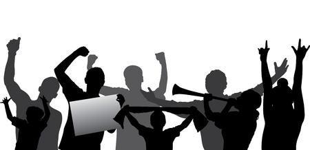 gente celebrando: Los aficionados al deporte, silueta multitud que lo vitoreaba en capas - cada figura en una capa separada Editable