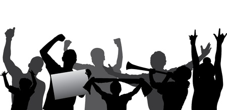 cheer: Sports fans, cheering crowd silhouette  Layered - every figure on a separate layer  Editable