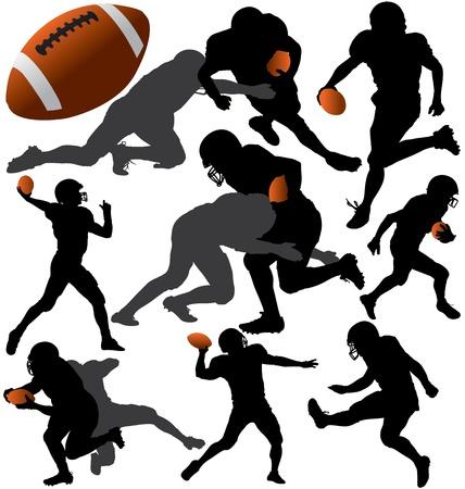 adrenalina: F�tbol americano Siluetas vectoriales. En capas. Totalmente editable. Vectores