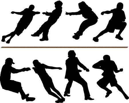 Tug of war or rope pulling vector silhouettes. Layered and fully editable