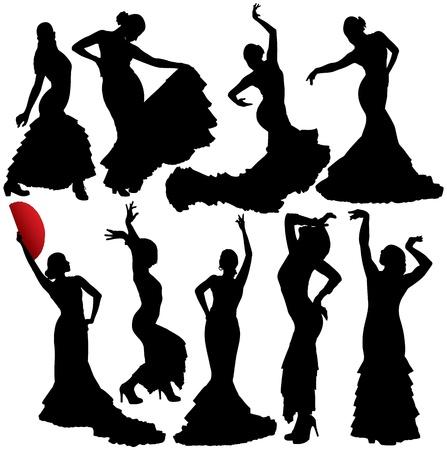 bailando salsa: Flamenco siluetas. En capas. Totalmente editable. Vectores