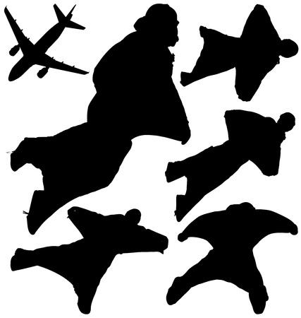 caida libre: Wingsuit paracaidistas siluetas. Capas y completamente editable