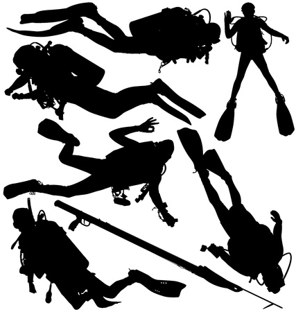 divers: Scuba diver and speargun vector silhouettes. Layered, fully editable Illustration