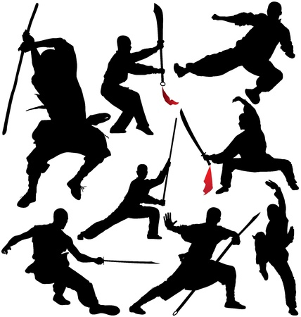 Kung fu, shaolin vector silhouettes  Layered and fully editable Illustration