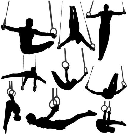gymnastik: Gymnastik ringar vektor silhuetter. Layered och fullt redigerbara