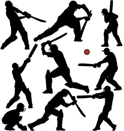 batsman: Cricket game silhouettes set. Layered and fully editable