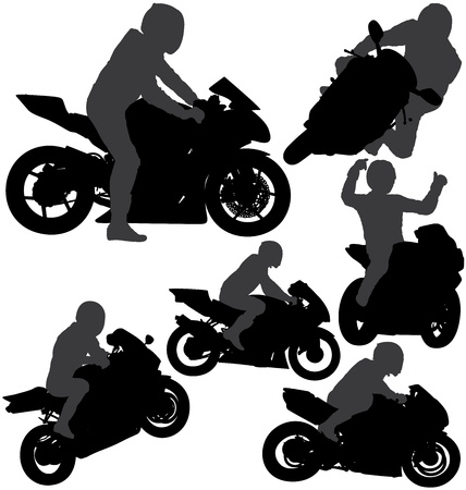 racing wheel: Motorcycle rider silhouettes set. Layered and fully editable