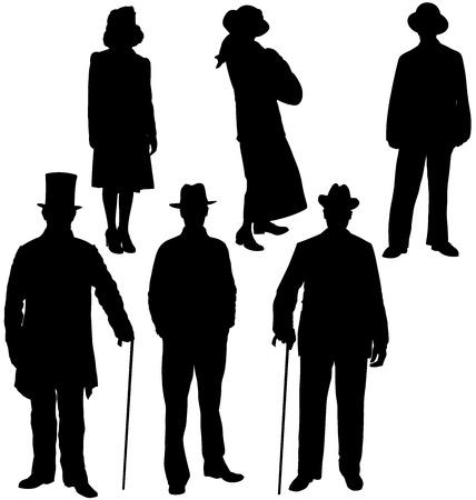 Gentleman i sylwetki pani. Warstwami i pełni edytowalne Ilustracje wektorowe