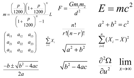 Mathematics and Physics vector formulas and expressions  Layered and fully editable  The most popular and common  loan payments, quadratic, gravity, Einstein s energy, the Pythagorean theorem etc
