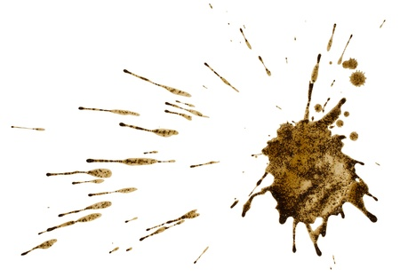 Coffee or mud splash isolated on white background  Clipping path