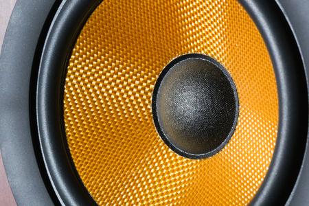 hifi: Hi-Fi audio system speaker membrane close-up