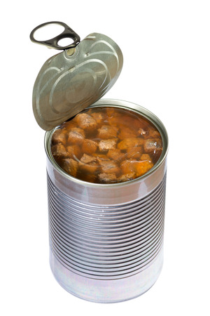 Opened dog or cat canned food isolated on white background  Clipping path