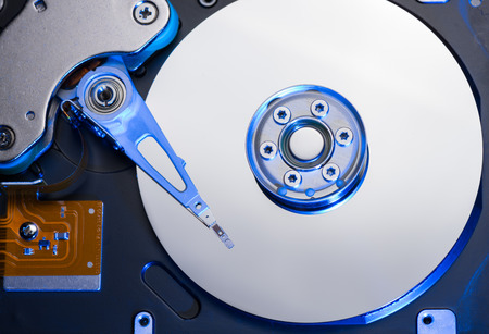unusual angle: PC hard disk drive closeup