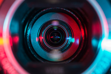 facing on the camera: Video camera lens