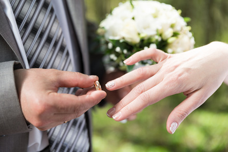 put up: Wedding day  Groom putting ring on bride s finger