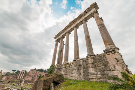 Ruins of the Temple of Saturn at Roman Forum in Rome, Italy