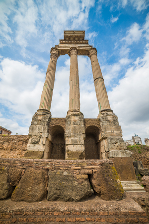 Ruins of the Temple of Castor and Pollux at Roman Forum in Rome, Italy