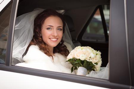 Bride in a limousine