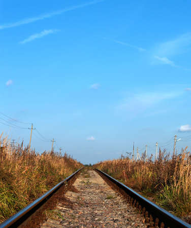 blue sky and railway in the plain Stock Photo - 768080
