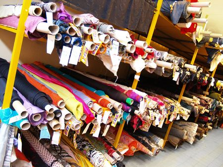 customer tailor: The warehouse of stocks of fabric and textile Stock Photo