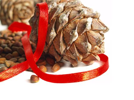 Christmas still life with nuts, cones and red ribbon isolated on a white background photo