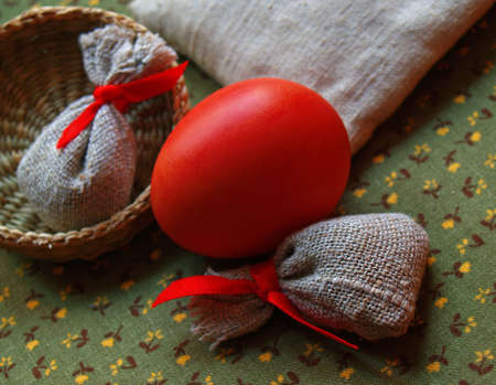 arisen: red egg in easter still life