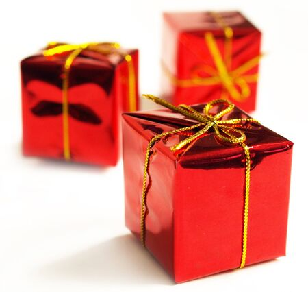 donative: Red gift boxes on a white background