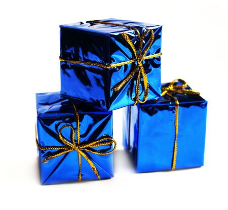 donative: Gifts on a white background. Card design with presents. Small blue boxes.