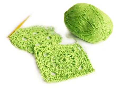 Ganchillo. Hobby. Motivos de punto de algodón. Foto de archivo