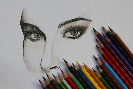 pencil drawings: Girls face drawn with pen and pencil