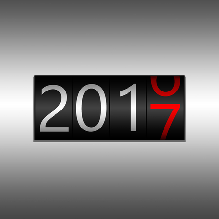 2017 New Year Black Odometer on white background- New Year 2017 design, odometer style with white and red numbers.