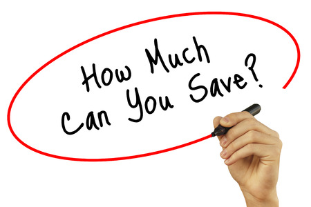 Man Hand writing How Much Can You Save? with black marker on visual screen. Isolated on background. Business, technology, internet concept. Stock Photo