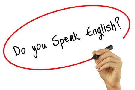 Człowiek w zapasie pismo Czy mówisz po angielsku? z czarnym markerem na ekranie wizualnym. Na białym tle. Biznes, technologia, koncepcja internetu. Zdjęcie stockowe Zdjęcie Seryjne