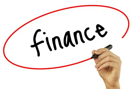 Man Hand writing Finance with black marker on visual screen. Isolated on background. Business, technology, internet concept. Stock Photo Stock Photo