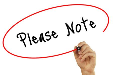 El hombre escrito a mano Nota con marcador negro en la pantalla visual. Aislado en blanco. Negocios, la tecnología, el concepto de internet. Foto de stock Foto de archivo