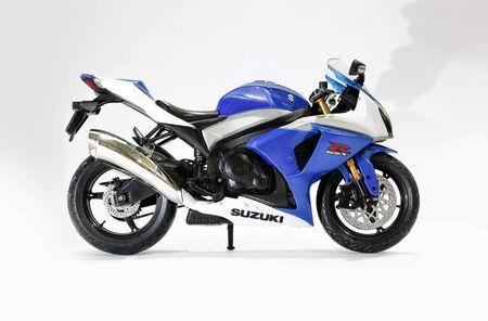 KRASNOYARSK, RUSSIA - 06 January 2017: Toy blue and white Suzuki GSX-R 1000 Editorial