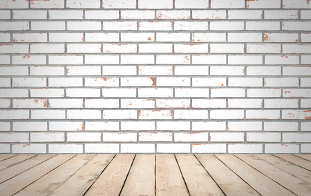 Perspective wood over white brick wall background, room, table, interior design, product display montage, vintage style