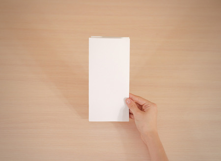 offset views: Hands holding blank white brochure booklet in the hand. Leaflet presentation. Pamphlet hand man. Show offset paper. Sheet template. Book in hands. Booklet folding design. Fold paper sheet display read Stock Photo